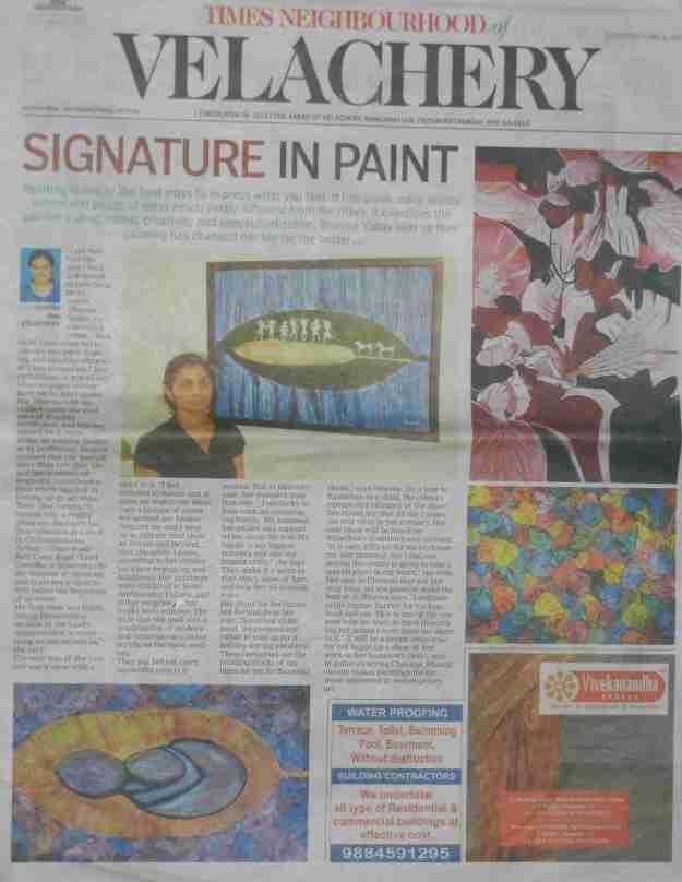 Times of India supplement (Times Neighbourhood of Velachery)  June 1, 2013